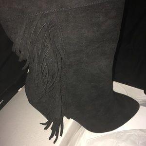 Torrid mid calf boot with fringe